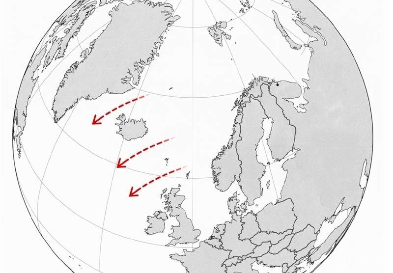 """GIUK gap,即位于格陵兰-冰岛-英国之间的水道,这里的海底布设有水听器,组成被称为""""SOSUS""""的""""水下长城"""""""