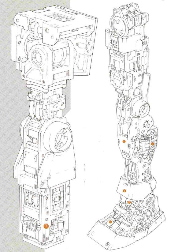 手臂和腿部结构和RX-78基本相同。但由于核融炉功率更低,因此关节的驱动系统功率也相应降低了输出功率。