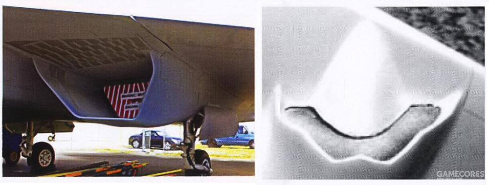 除了发动机舱外,进气口外形也进行了修改。除了截面外形从倒梯形修改为内含进气锥的半圆形外,同时进气口边缘也修改为了锯齿形以解决气动问题。