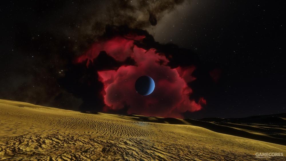黄昏时分天空中巨大的玫瑰色星云和蓝色的冰巨行星