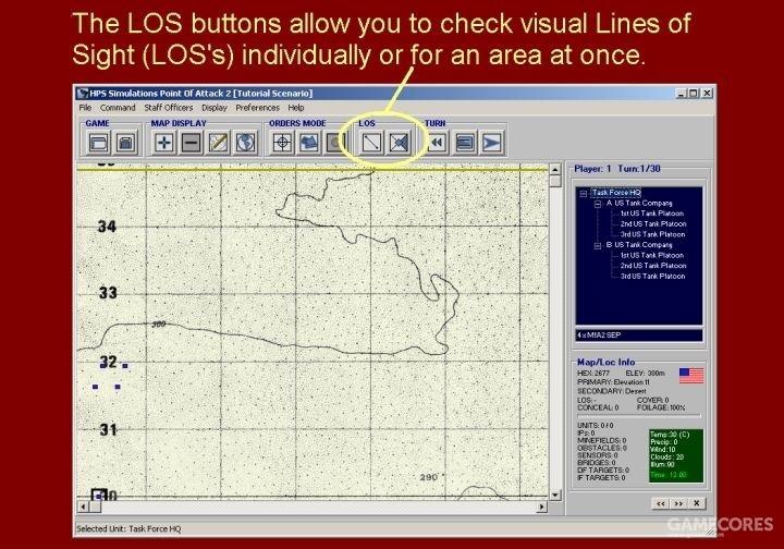 视野按钮(LOS)允许你检查点对点的虚拟视线通过情况或一片区域的视界范围。