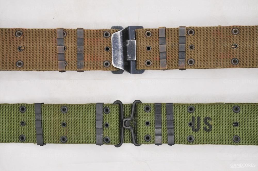 M-1967 LLCE装具的腰带,分戴维斯扣(上)和铜搭扣(下)两种