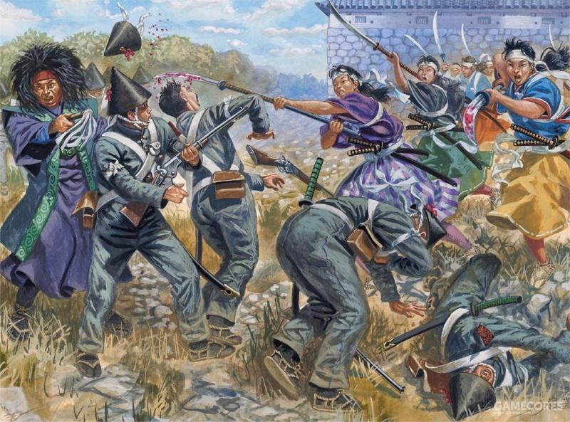 会津若松城围攻期间,由中野竹子带领的女武士正在和帝国步兵展开肉搏战