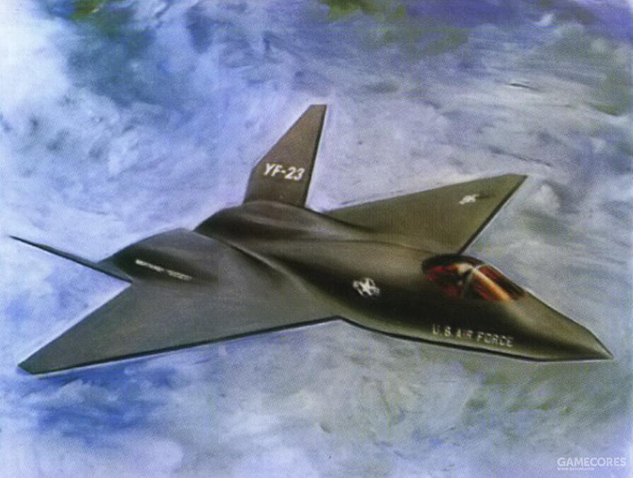 1990年5月15日,美国国防部先行公布了较为精确的YF-22与YF-23想象图。其和实机已经基本一致。只是省略气动控制面并选择了一个不会暴露发动机喷口与进气口的角度。
