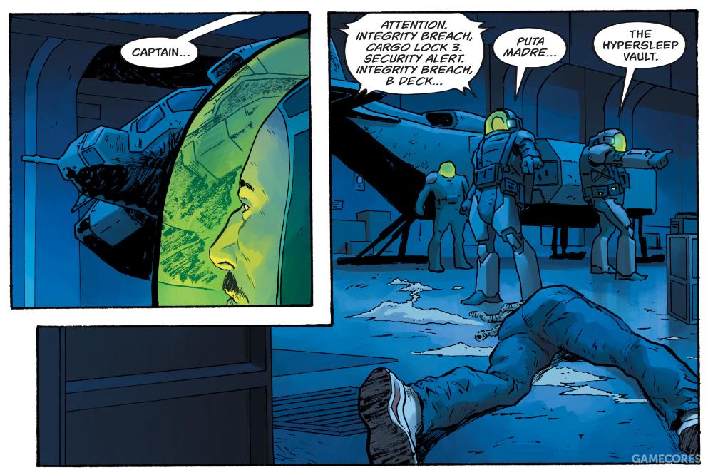《异形3:未拍摄剧本改编漫画》(Alien 3: The Unproduced Screenplay)中的故事开场,UPP登船小组进入苏拉科号