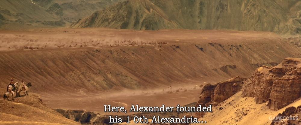 """在这些城市中,有一座位于今天苦盏附近的Alexandria Eschate,意为""""绝域亚历山大""""。它后来成为希腊-巴克特里亚王国的一部分,据说也是出产汗血宝马的大宛。"""