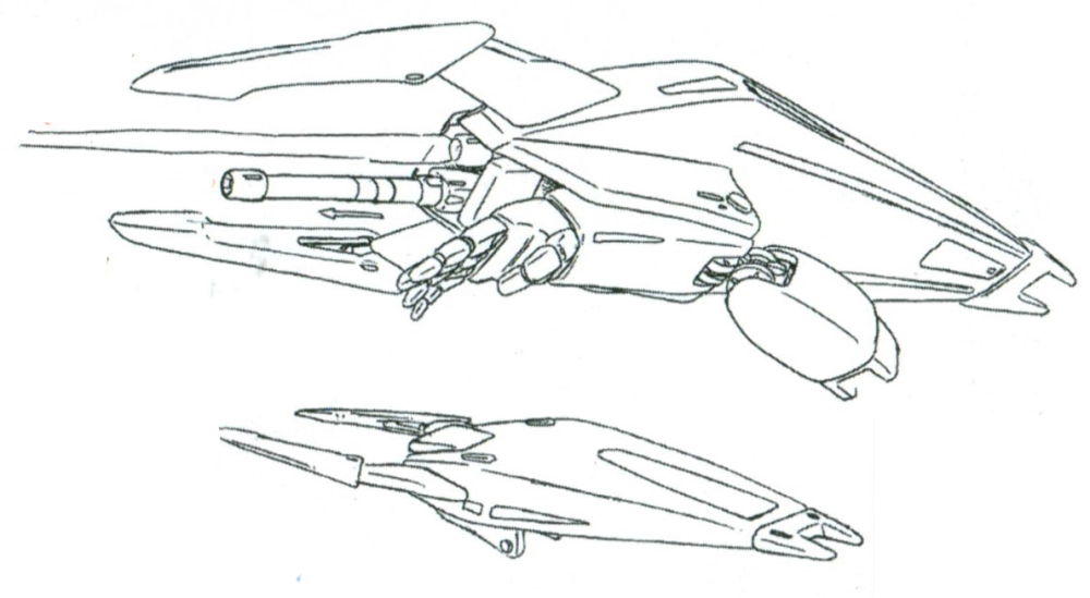 其主要武器是安装在右臂的盾牌式结构。除了前端的盾状结构前方的大型格斗爪外,盾牌结构内还集成了专用光束军刀的收纳结构。