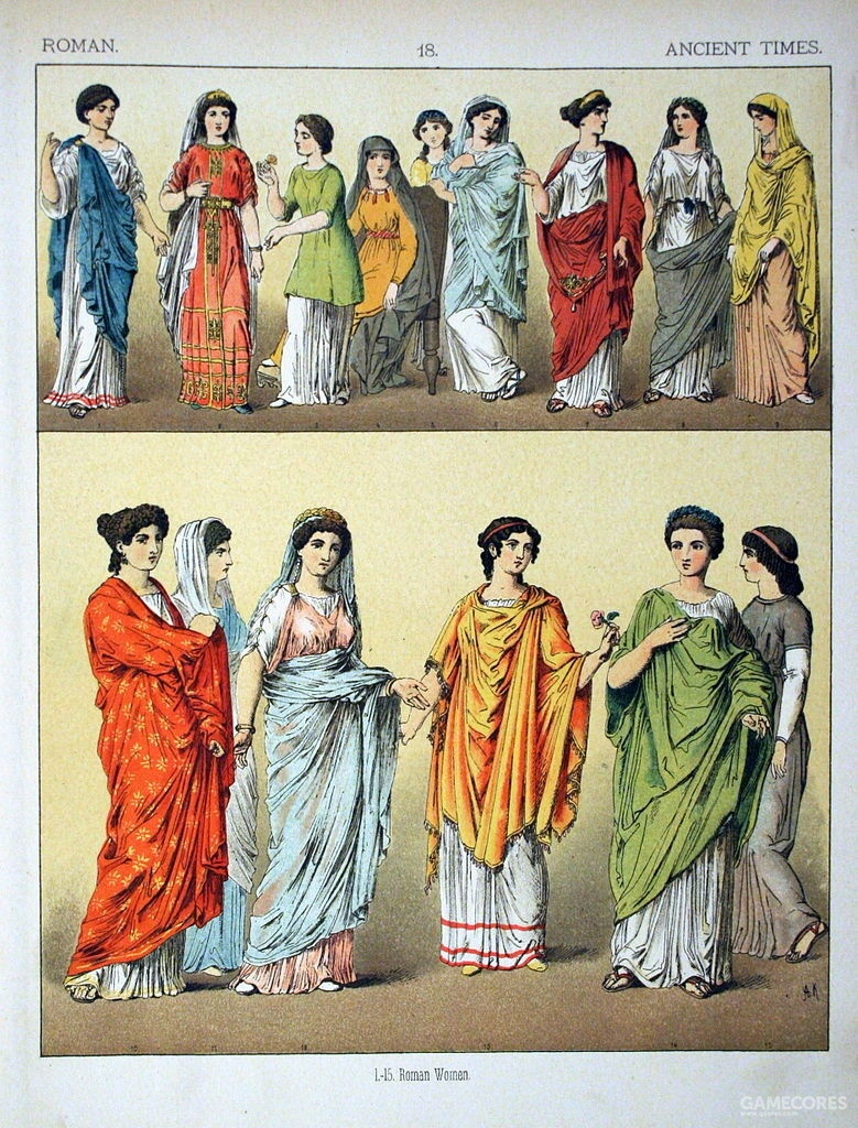 "Ancient Roman's costumes, from ""The Costumes of All Nations"" by Albert Kretschmer & Dr. Carl Rohrbach, 1882"
