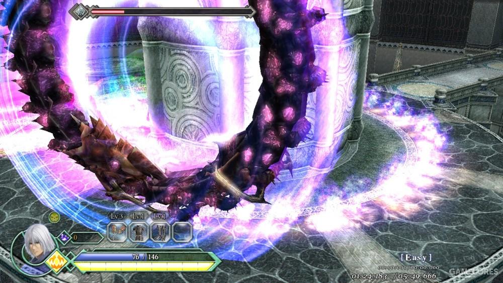 中期BOSS会衔接头尾,在战斗场地中高速滚动,同时会有落雷与肉瘤干扰玩家。
