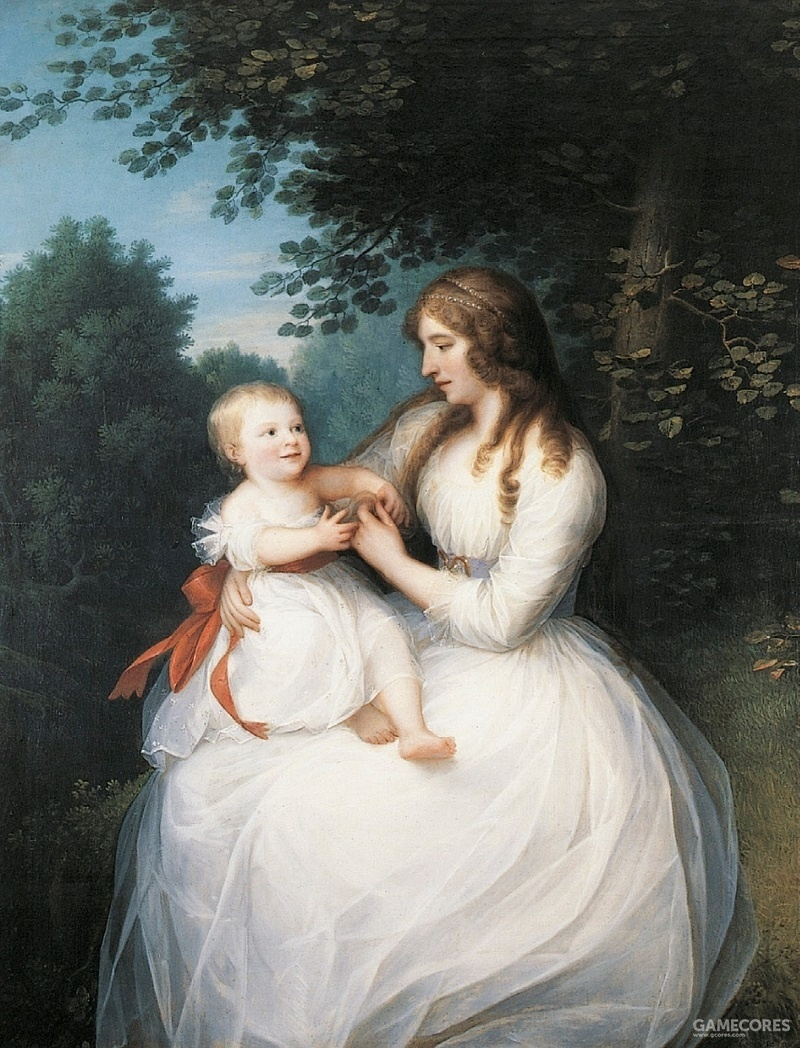 Portrait of Friederike Brun and her daughter Charlotte by Erik Pauelsen,1789