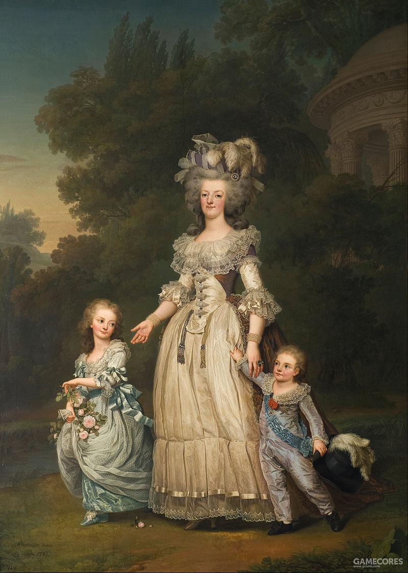 Marie Antoinette with her two eldest children, Marie-Thérèse Charlotte and the Dauphin Louis Joseph, in the gardens of the Petit Trianon by Adolf Ulrik Wertmüller, 1785。皇后穿的便是Robe à la Turque