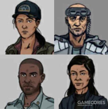 四名船员,上排为斋藤美和、斯塔维克;下排为桑克罗夫特和直子