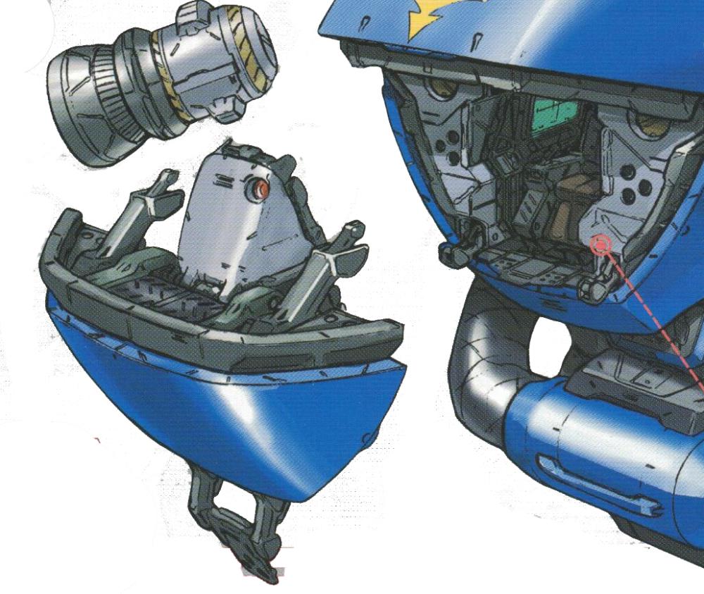 驾驶舱并未采用独立区块设计,驾驶舱门和装甲为整体式结构。由于MS-18E会经常采用俯身冲刺姿势,装甲带主要集中在了驾驶舱斜上方。