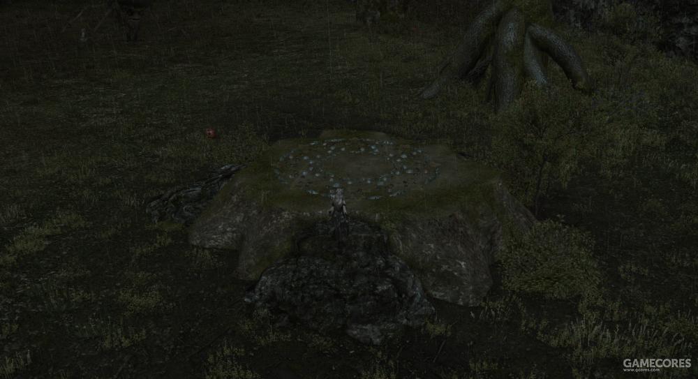 穿过虹桥瀑布后的石洞就会来到再生的残桩,据说这是一只死去的元灵留在这个世界上的最后痕迹