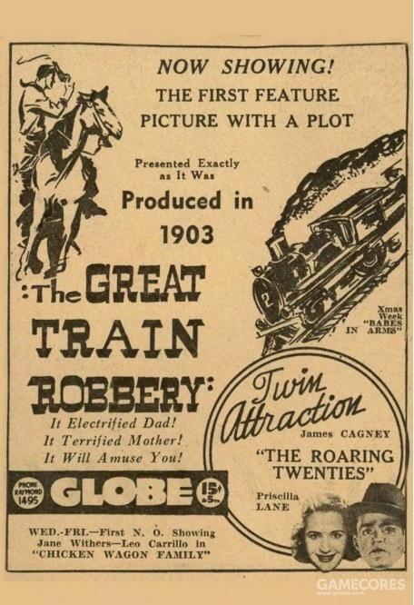 美国电影《火车大劫案》海报:第一部西部片、第一部警匪片、第一部剧情电影