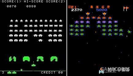 左图为《太空侵略者》,右图为《小蜜蜂》