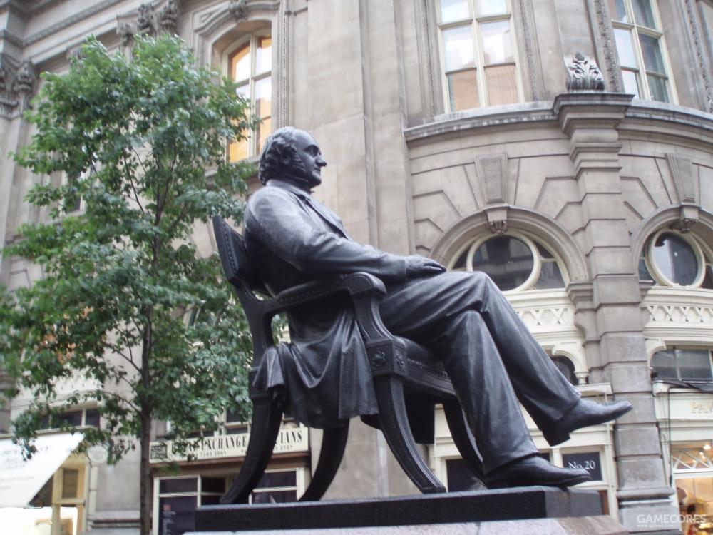 佛罗里达州和密西西比州在债务问题上表现的极为顽固,因此皮博迪后来的慈善事业将这两个州排除在外。图片为皮博迪在伦敦皇家交易所前的铜像。