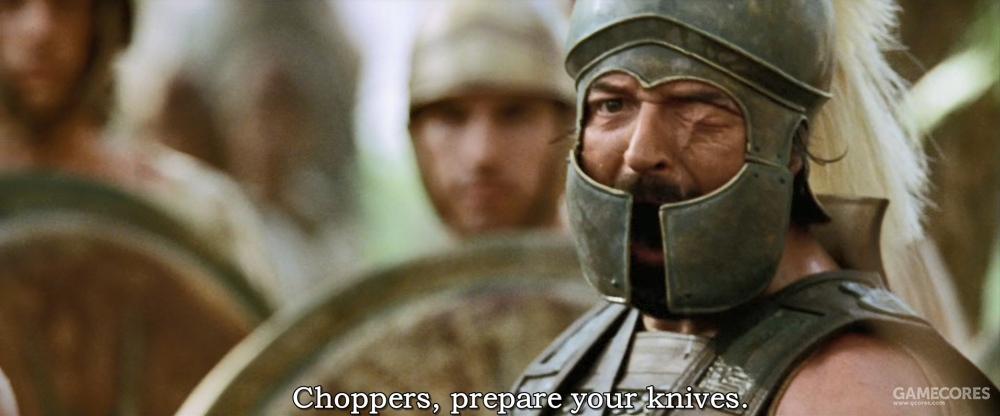 片中经常有这种张冠李戴的问题,比如指挥持盾卫队的人实际上是塞琉古,当时安提柯已经离开亚历山大做了弗里吉亚总督