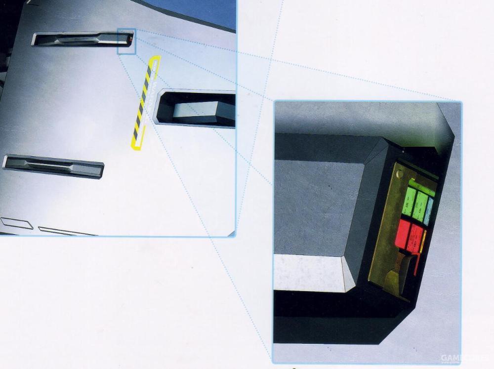 SPI传感器用于检测扭力杆系统的工作状况并向SPS传感器实时汇报相应磨损的数据。同时,SPI系统能够提供部分位置的外部可视化指示器以方便后勤维护时查看。该SPI可视化外部指示器图片来自坠毁的RX-178四号机腿部。
