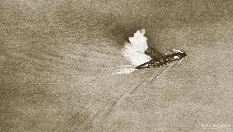 日本飞机拍摄的躲避炸弹的宁海号