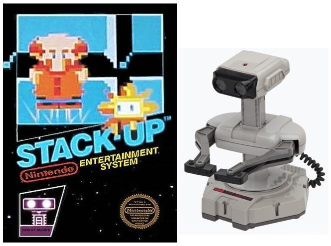 1985年任天堂发售的《Stack-Up》以及配套的机器人玩具外设R.O.B.,虽然国内难得一见,但恐怕看过喷神James节目的朋友都不陌生
