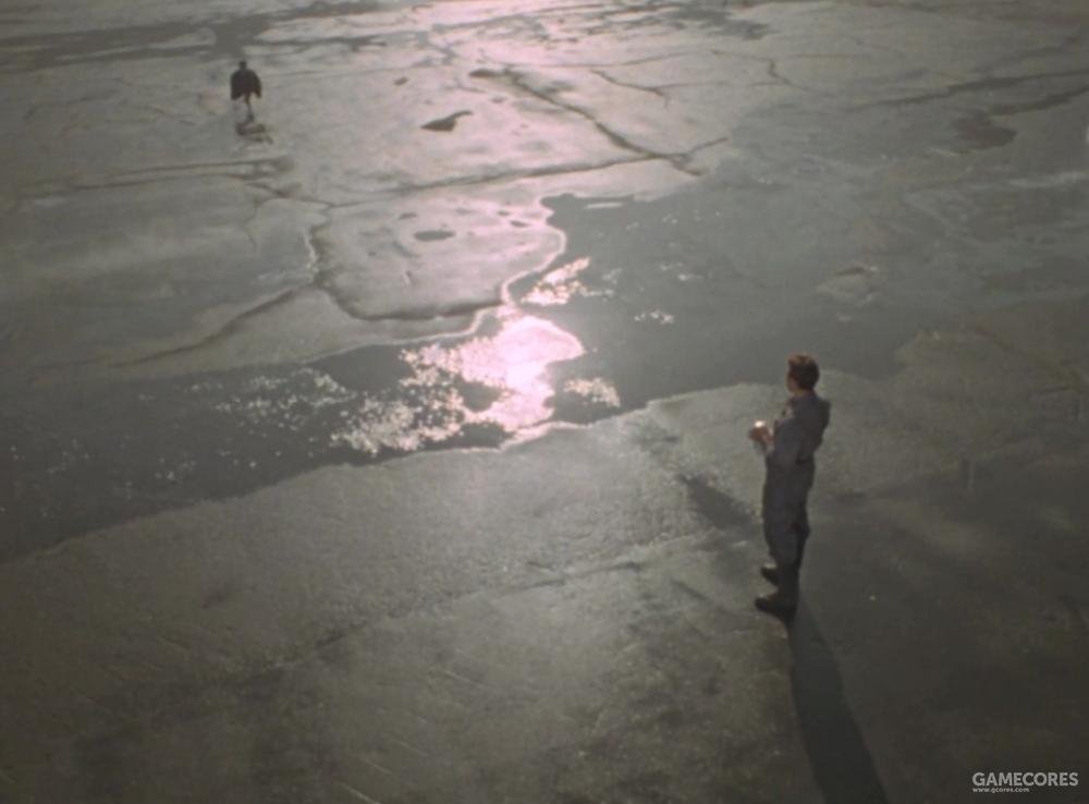 坚硬冰冷的大地,但却有温暖的水流经两人