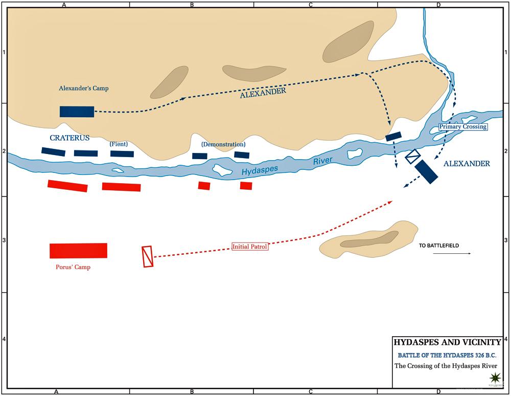 海达斯佩斯河之战第一阶段:亚历山大的渡河计划