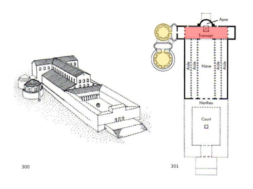Old St. Peter,4世纪;红色的就是耳堂部分