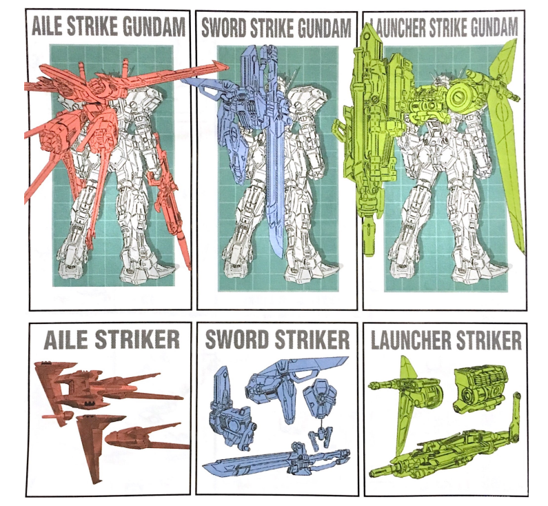 左起:空战型背包、剑战型背包、炮战型背包