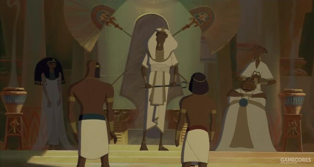 《埃及王子》中塞提一世正在训斥拉美西斯二世和摩西