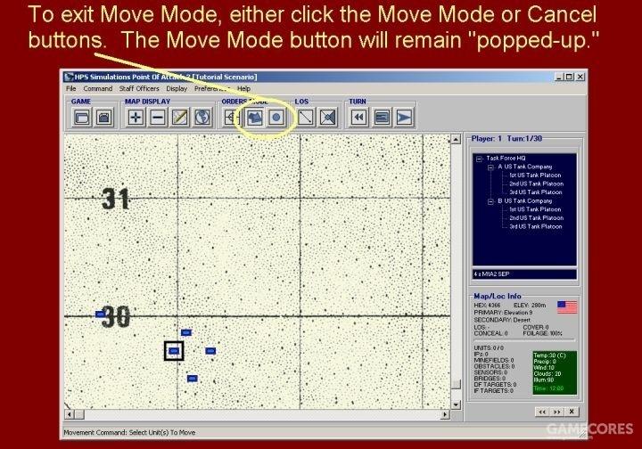 若要退出机动模式(Move Mode),既可以点击该按钮,也可以点击取消按钮。机动模式按钮(Move Mode)将恢复弹起状态。