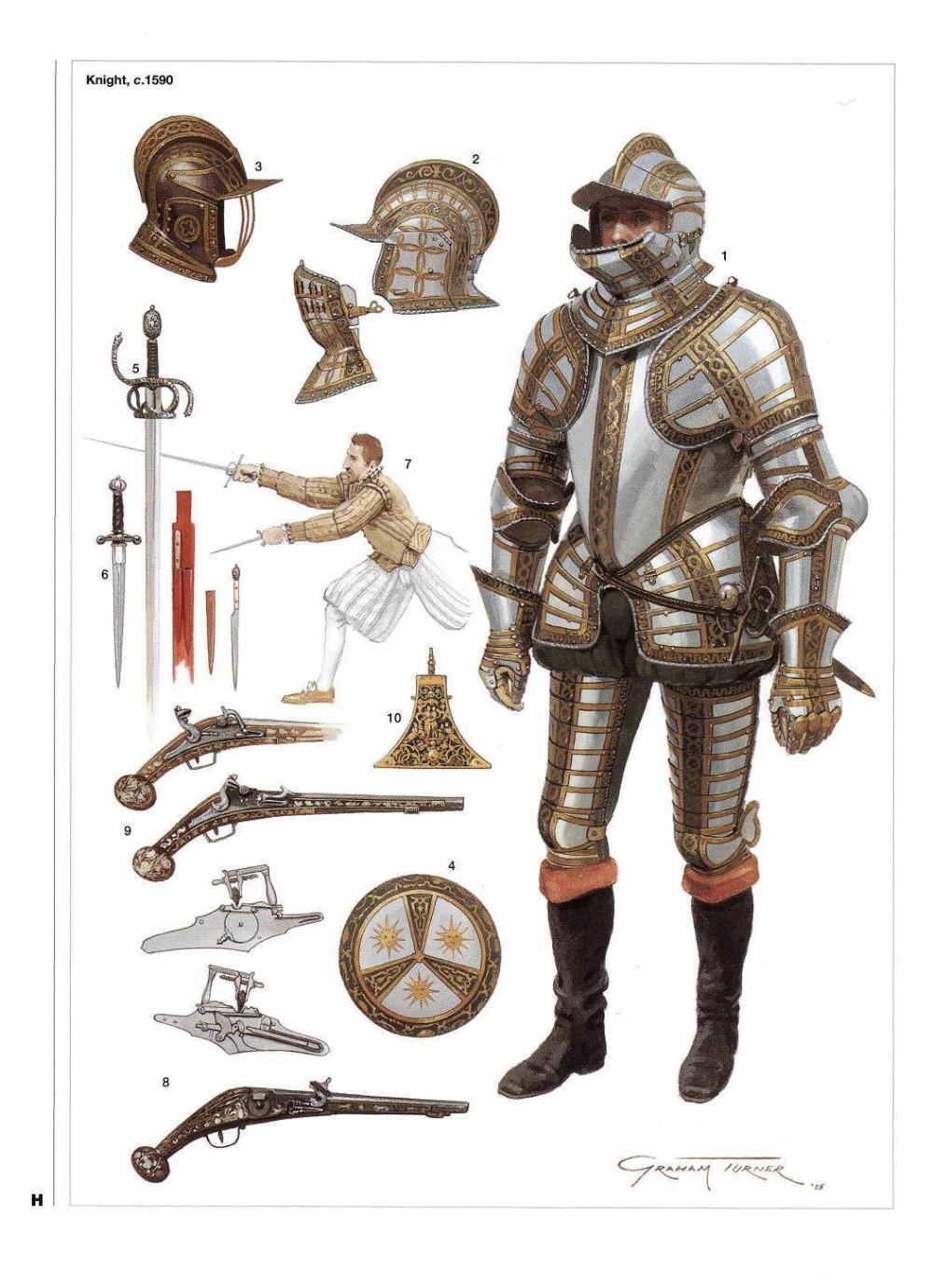 晚期英国都铎骑士,已经采用了更简单的四分之三甲
