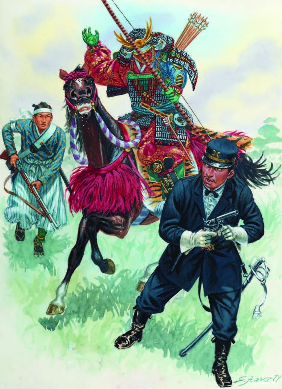 萨摩战争期间的骑马武士正在攻击日本帝国步兵