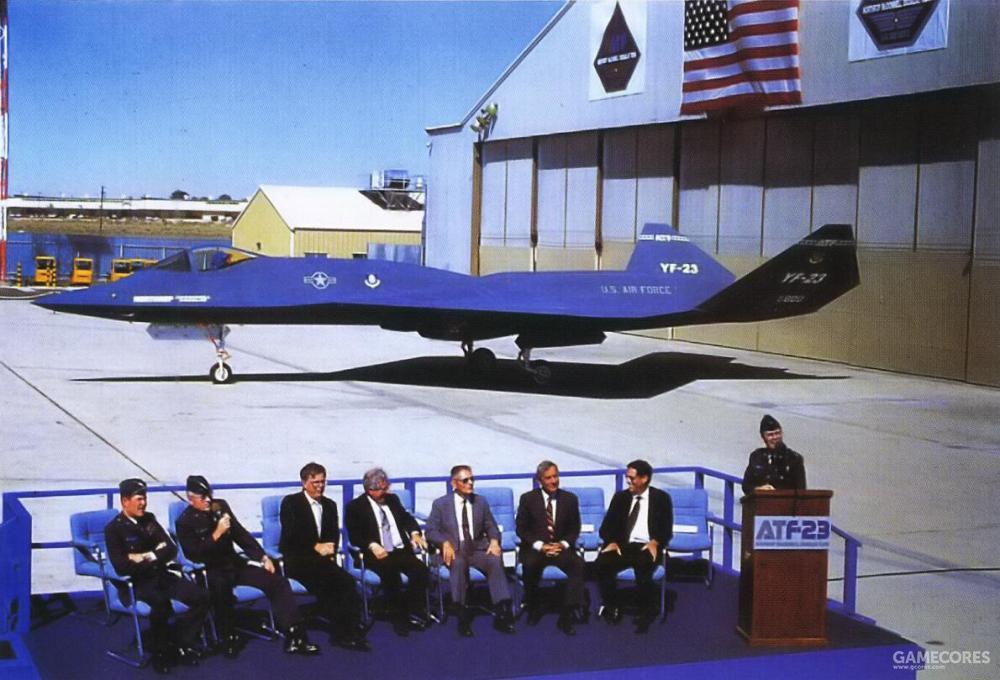 1990年6月22日,诺斯罗普团队在爱德华空军基地举行了YF-23的出厂仪式。在各个供应商、空军与国会代表致辞后,YF-23 PAV-1号原型机被拖出机库。这也是公众第一次见到ATF项目的实际产物。