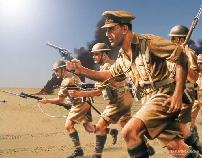 描绘了二战时期在北非沙漠地区作战的英军形象的封绘,短袖短裤作战服和长筒袜是当时北非英军的特点,游戏中非洲佣兵团士兵的设定继承了这一特点。图片来自Airfix.com