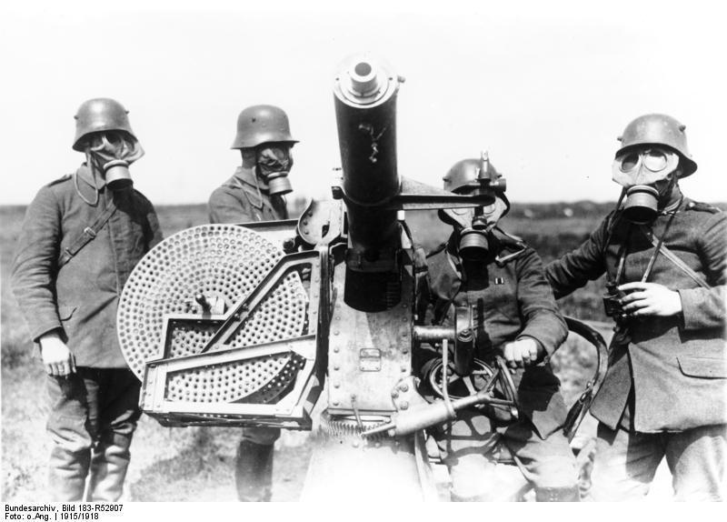 1915年,第一次世界大战中的德军机枪手