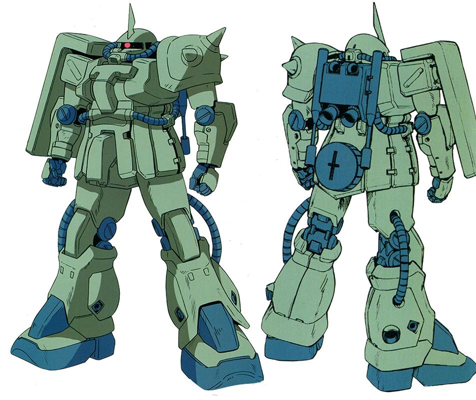 作为吉翁军生产数量最多,部署范围最广的MS型号。MS-06F进行了较大幅度修改成为MS-06F2以达到和其他量产MS部件通用的目的。由于大量使用了通用规格的关节部件,MS-06F2的四肢看上去比MS-06F更为粗壮。