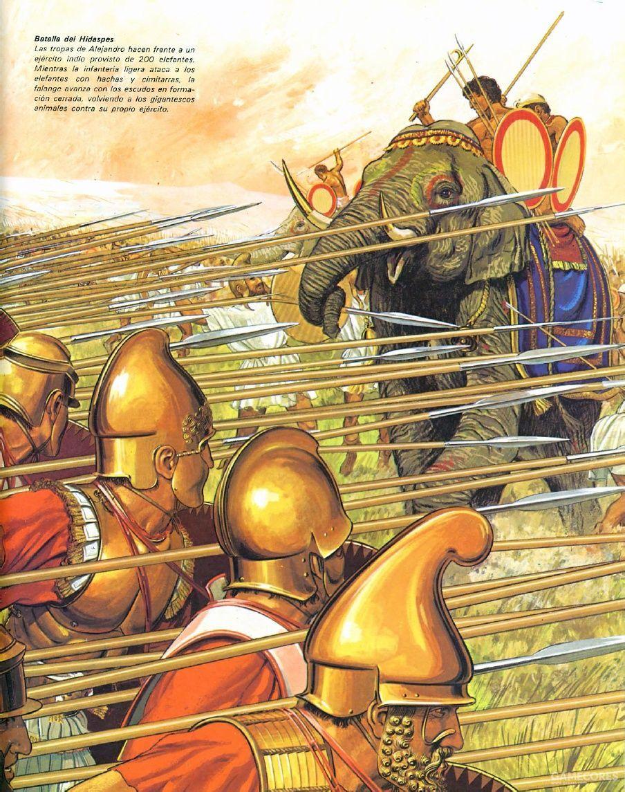 绘画,马其顿步兵迎战象兵