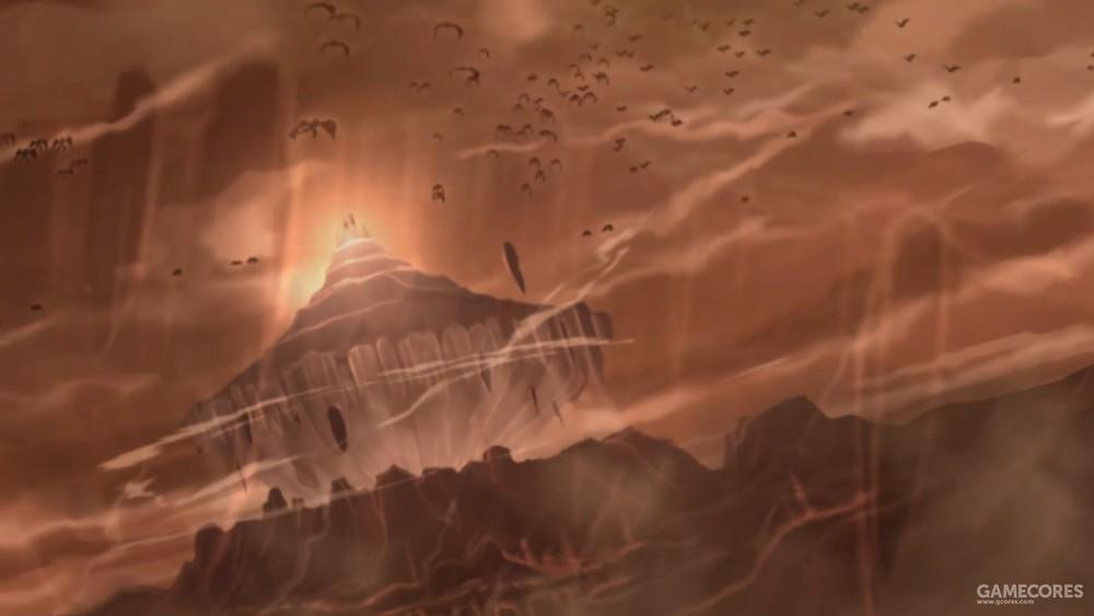 正在升空的萨尔蒙神殿与肆虐的魔物。