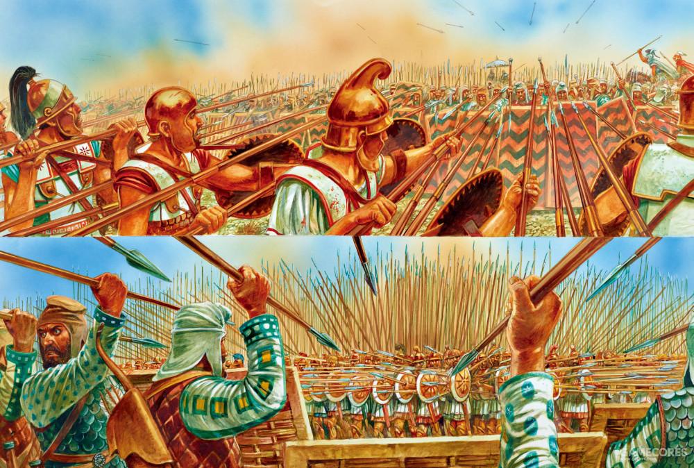 绘画,高加米拉之战的步兵对决,可以看出马其顿长枪比波斯的矛长很多