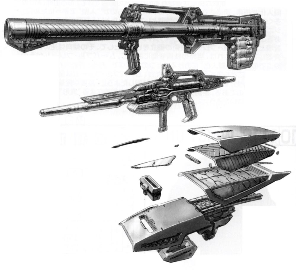 RX-178的主要武器配置和RX-78第一批次几乎如出一辙。手持装备是经典的光束步枪、无后坐力炮和盾牌三件套。