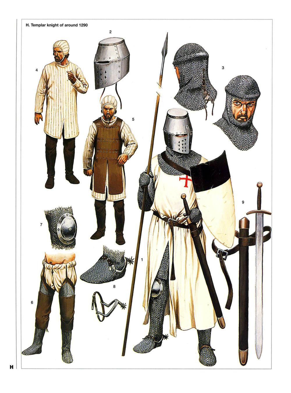 1290年的圣殿骑士,他已经采用了桶盔,这种头盔正是在海外发明的