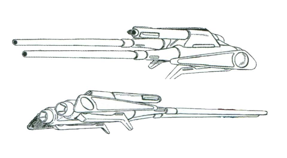 PMX-001专用的光束步枪采用双管设计。全功率输出时,单发威力就能重创战舰级目标。同时,光束枪管中央安装有榴弹发射器以应对多种目标。