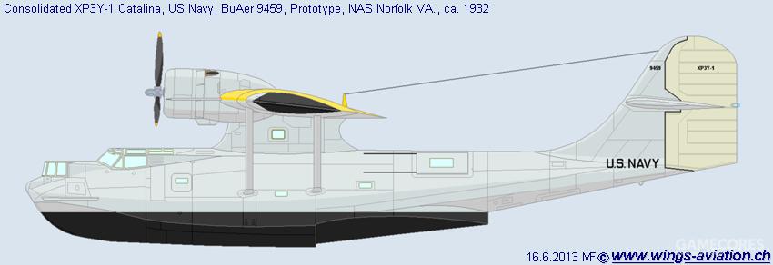 首飞时的XP3Y-1原型机