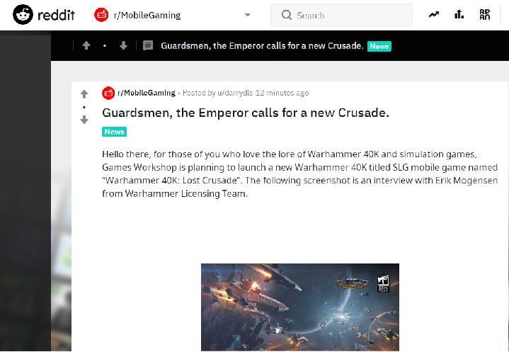 在Raddit上的Long Crusade消息