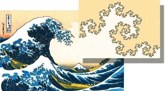 葛饰北斋的《神奈川巨浪》与分形。不确定葛饰北斋的数学基础有没有达到理解分形的地步,但对美的表达仍然可以和数学做到殊途同归。那么美到底是什么?