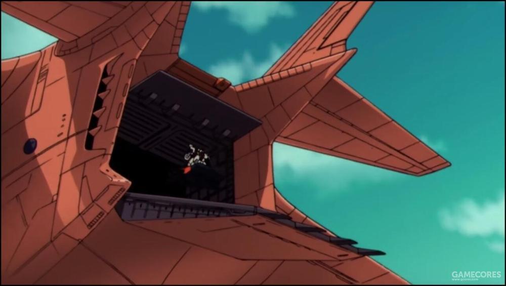 由于SFS系统具备独立起飞悬停能力,因此根据需要MS可以从各个方向的舱门起飞离机。除了拦截敌机时常见的从机尾舱门起飞外,也可以从机体两侧的大型舱门密集放飞载有MS的SFS。
