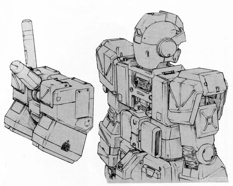 尽管外形上和之前RGM-79F型的四推进器式背包非常相似。但是该背包为全新设计的产品。其技术来自于RX-78-6背包的小型化。背部追加了集成式传感器。