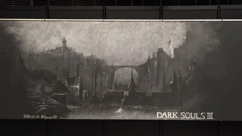 用黑板和粉筆畫黑魂3的場景