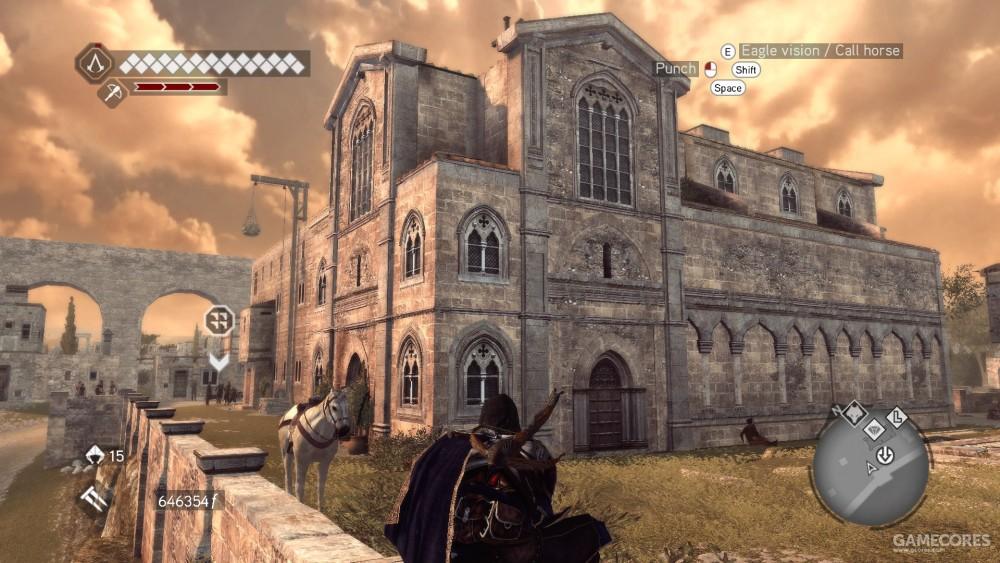 就是这个教堂的洗礼堂,在《兄弟会》罗马地图的最旁边。因为网上找到的照片里没有这个角度,我还特意重新回到游戏里去看了下,结果发现游戏里没还原这个洗礼池。话说吐个槽,刺客信条的场景真的是比现实比例小太多了。